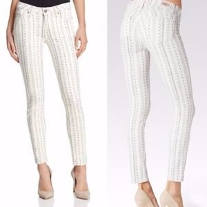 New Paige White Black Miri Verdugo Ankle Jeans